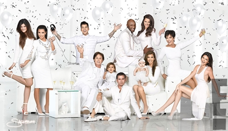 Kardashian Family Christmas Cards 2013-14, Kim, Kourtney and Khloe Dress Pictures