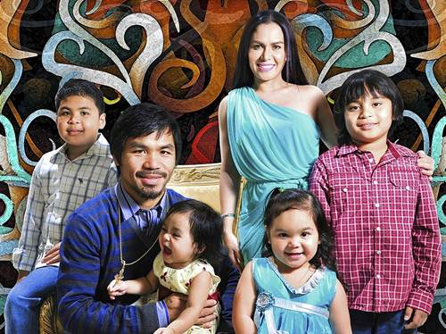 Family photo of the boxer, married to Jinkee Pacquiao, famous for Pacquaio vs. Algieri & Pangarap Kong Jackpot and Wapakman.